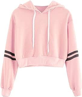 DIOMOR Women Classic Varsity-Striped Drawstring Crop Hoodie Sweatshirt Jumper Crop Pullover Top Present Gift