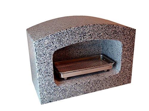 石のさかい 香炉 櫛形 墓石 白御影石 線香皿付き