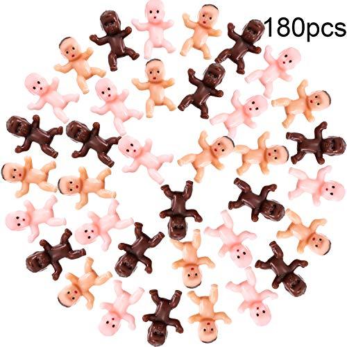 180 Stücke Mini Kunststoff Babys 1 Zoll Baby Puppe für Baby Dusche Party Gefallen, Party Dekorationen, Baby Baden und Basteln (Dunkel Braun, Latein, Rosa)