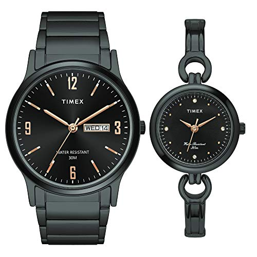Timex Analog Black Dial Unisex's Watch For Husband & Wife