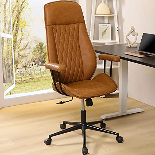 Leather Office Chair High Back, ergonomic Desk chair with removable arms Computer chair with adjustable Backrest tilt, Brown Executive Chair for Home, Office