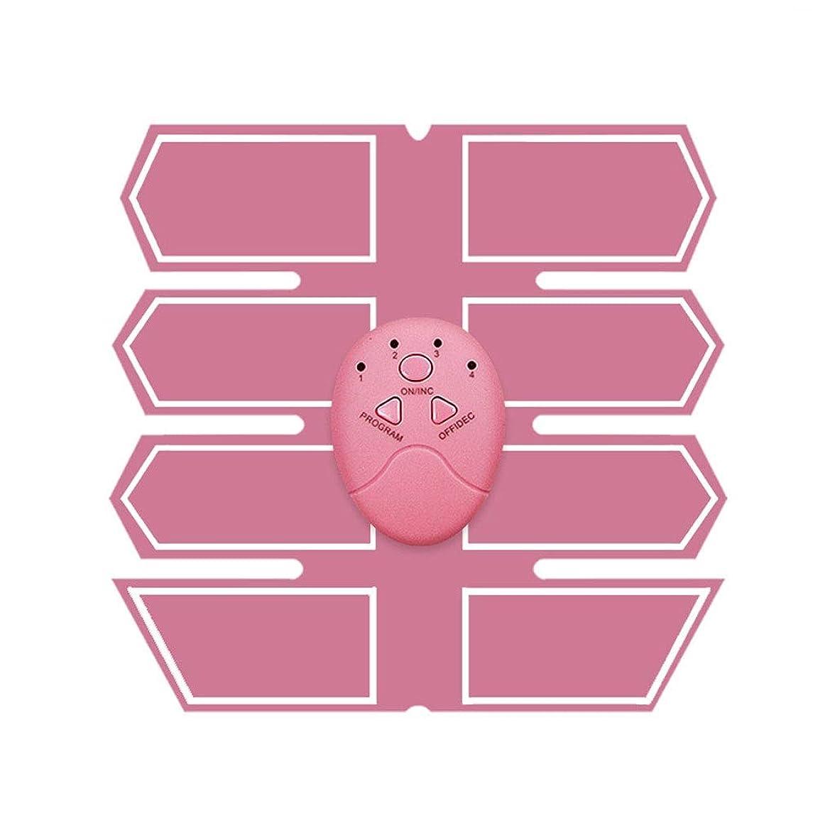 骨の折れる不正意見ABSトレーナーEMS腹部電気筋肉刺激装置筋肉トナー調色ベルトフィットネストレーニングギアエクササイズマシンウエストトレーナーホームトレーニングフィットネス機器 (Color : Pink, Size : A)