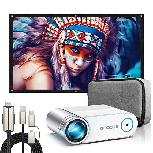 Projector, GooDee 2020 Upgrade G500 Mini Video Projector with 100 Inch Projector Screen+Phone to HDMI Cable, 4K HD 16: 9 Portable Video Widescreen Movies Screen for Home Theater