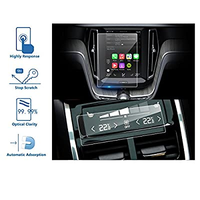 LFOTPP 2PCS Car Navigation and Air Conditioning Display Screen Protector for 2018-2020 Volvo XC60, Tempered Glass 9H Hardness Car Infotainment Stereo Display Center Touchscreen Protective Film