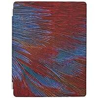 RECASO 青および赤い羽 抽象芸術 iPad Air 4 ケース 2020 iPad 10.9インチ 半透明カバー 強化ガラスフィルム付き オートスリープ機能付き 第二世代Pencil ワイヤレス充電対応 三つ折りスマートケース