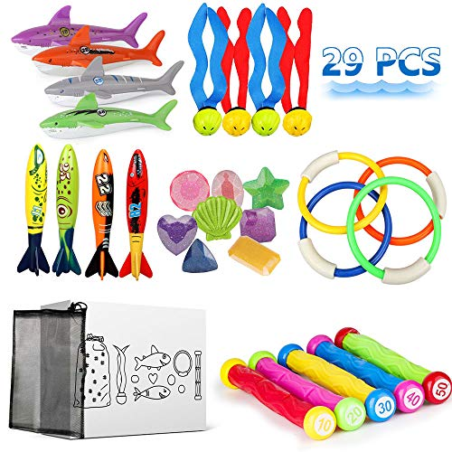 Epeolatry 29 PCS Diving Toy Set, Diving Pool Toy Rings, Torpedo Bandits, Diving Shark, Diving Sticks, Stringy Octopus and Under Water Treasures Gift Set Bundle with Portable Storage Bag for Kids