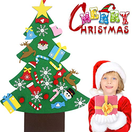 Bdwing Felt Christmas Tree Set - 3.2ft 3D DIY Set with 30 pcs Ornaments, Xmas Decor Gifts for Kids, New Year Handmade Christmas Door Wall Hanging Decorations, Party Supplies…