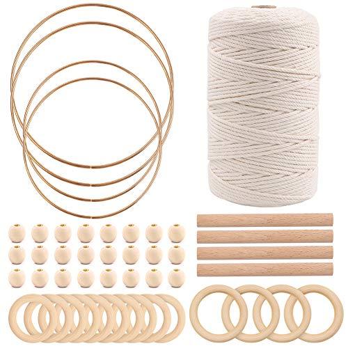 Kit de cuerda de macramé para iniciar 218 yardas, 3 mm, 100% algodón natural, con anillos de madera, cuentas y anillos de metal atrapasueños, para colgar plantas, perchas de pared, manualidades, tejer