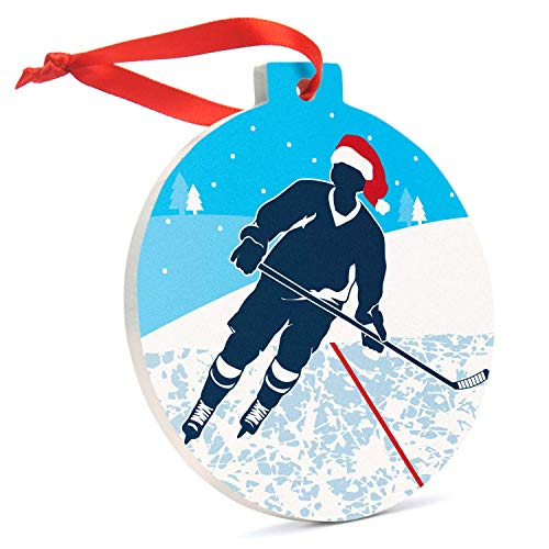 Hockey Ceramic Ornament |Santa Hat Hockey Silhouette Ornament