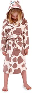 Childrens Boys Girls Soft Coral Fleece Novelty Animal 3D Dressing Gown with Hood