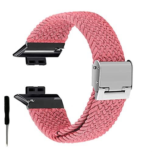 Correa de Reloj para Watch FIT Correa elástica Trenzada Ajustable Correa de muñeca Correa de liberación rápida (Band Color : Pink, Band Width : Hua Fit)