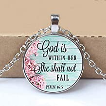 GOD is Within HER Necklace,Charm Pendant,Gift for Her,Faithful Charm Necklace,God is Within her She Shall not Fail,Psalms Charm