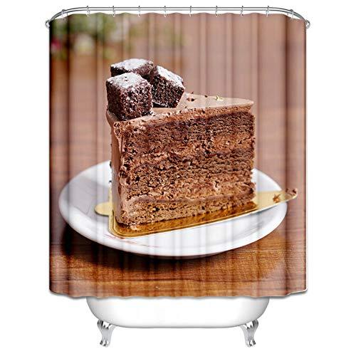 Ukilook Cortina de ducha de poliéster impermeable para bañera, pastel de chocolate, cortina de ducha impresa, cortina de ducha de tela lavable a máquina, cortina de baño, decoración del hogar