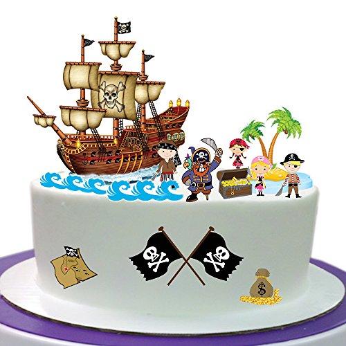 Pirat Szene aus Essbar Wafer Papier ideal für Dekorieren Ihre Geburtstag Dekorationen einfach zu verwenden