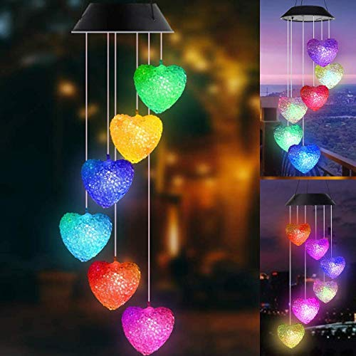 TIVOGZ Wind Chime Solar Lights, Butterfly Wind Chimes LED, Solar Crystal Ball Indoor Outdoor Decor, Solar Light Mobile for Garden Yard Home, Cadeaux pour Maman, Femme, Grand-mère