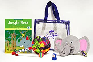 Jungle Beat: Deluxe Kit, Book & CD, Jungle Drum, Elephant Puppet, Hand Stamp & Jungle Tote Bag