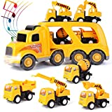 ArgoHome Construction Truck Set with Sound and Light, Transport Cargo Car Toy Play Set, Play Vehicles in Friction Powered Carrier Truck, Car Toy Set for 3 4 5 6 7 Years Old Child Kids Boys Girl Yellow