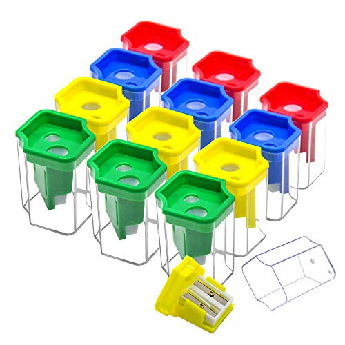 Double Holes Manual Pencil Sharpener-Handheld Plastic Crayon Sharpener with Receptacle for Regular or Oversize Pencil &Crayons