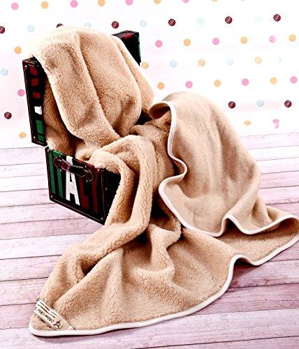 Beige Manta 200 x 250 cm Super King Manta de 100% Pura Lana Merina Manta 250 x 200 cm Cálido y Natural Certificada por Woolmark. Muy Suave y Confortable. Manta Sofa