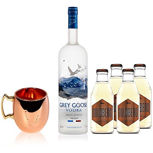 Moscow Mule Set - Grey Goose Vodka 0,7l 700ml (40% Vol) + 4x Goldberg Intense Ginger 200ml + Grey Goose Mule Becher - Inkl. Pfand MEHRWEG