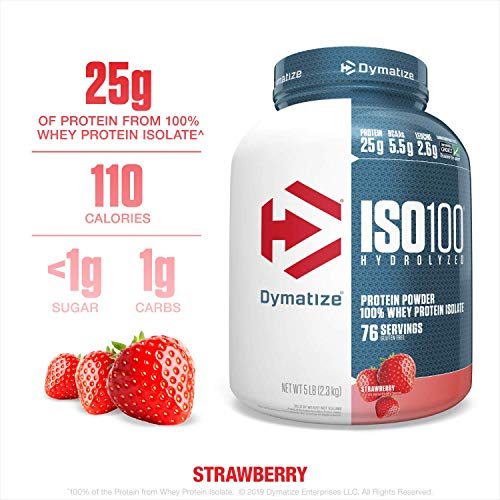 Dymatize ISO100 Hydrolyzed Protein Powder, 100% Whey Isolate Protein, 25g of Protein, 5.5g BCAAs, Gluten Free, Fast Absorbing, Easy Digesting, Strawberry, 5 Pound