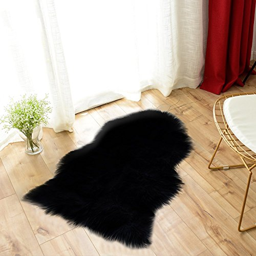 Carvapet Luxury Soft Faux Sheepskin Chair Cover Seat Pad Plush Fur Area Rugs for Bedroom, 2ft x 3ft, Black
