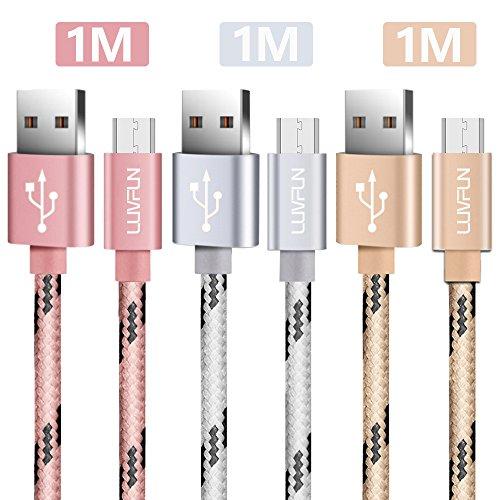 Luvfun [3-Pack] Cable Micro USB, 1m+2m+3m Nylon Cable (Oro Rosa+Plata+Oro)