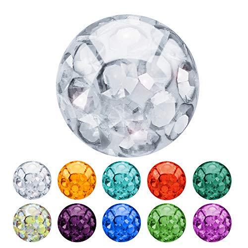 Treuheld® | Piercing Kugel aus Epoxy (Kunststoff) | 1,2mm x 3mm - Klar | Ersatzkugel mit Gewinde (Innengewinde) | Glitzer/Multi-Kristall