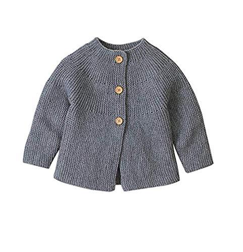 Hailouhai Herbst Winter Neugeborenen Baby Mädchen Pullover niedlich Langarm Kleidung Strickjacke Pullover warm halten Outfits (6-12 Monate, Grau)