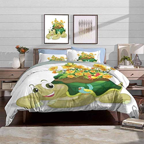 Duvet Cover Set Luxury Down Comforter Quilt Cover Funny Floral Turtle Talking with Colorful Humming Birds Tortoise Ninja Home Decoration Decorative 3 Piece Bedding Set with 2 Pillow Shams, Full Size