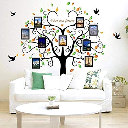 Large Family Tree Wall Decal Decor-Family Tree Picture Frames Wall Decal Peel and Stick Vinyl Tree Photo Frames Wall Stickers for Living Room Bedroom Home Decor