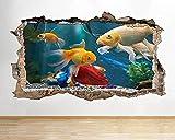 Peces acuario natación pared rota calcomanía arte pegatinas vinilo habitación- - 70x100cm