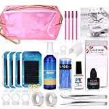Eyelash Extension Kit, MYSWEETY Full Professional Eyelash Extensions C Curl Eyelahes Lashes Strip Graft Glue Lint-Free Under Patch Pad Tweezers Cleansing Lotion Tools Case Bag Set