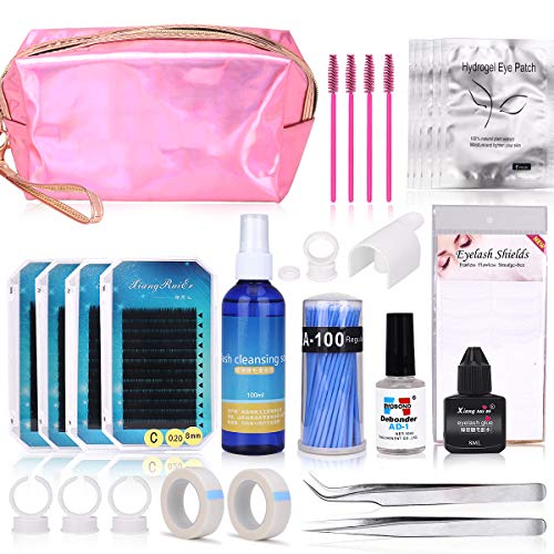 False Eyelash Extension kit, MYSWEETY Full Professional Eyelash Extensions C Curl Eyelahes Lashes Strip Graft Glue Lint-Free Under Patch Pad Tweezers Cleansing Lotion Tools Case Bag Set