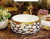 DWSS®カウンタートップベイスンセラミックカウンタートップ洗面台クローク手描き洗面台シンクバスルームシンク青と白の装飾的なコンテナシンクラウンド-2