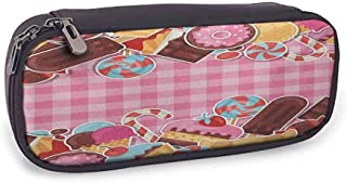 Pencil Bag Ice Cream Easy to Carry Candy Cookie Sugar Lollipop Cake Ice Cream Girls Design,3.5 x 8 x 1.5 Inches Baby Pink Chestnut Brown Caramel