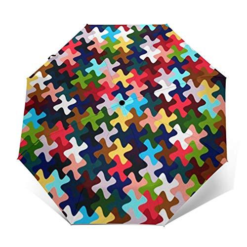 Ombrello Portatile Automatico Antivento, Ombrello Pieghevole Compatto, Folding Umbrella, Baldacchino Rinforzato, Impugnatura Ergonomica, Tappeto Geometrico Geometrico