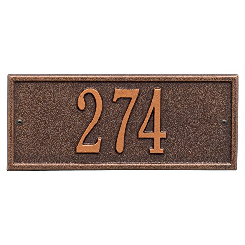 Whitehall Personalized Cast Metal Address Plaque - Small Hartford Custom House Number Sign - 10.5' x 4.25' - Allows Special Characters - Antique Copper