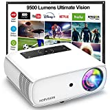 HOPVISION Native 1080P Projector Full HD, 9500Lux Movie Projector with 150000 Hours LED Lamp Life, Support 4K 350' Home Outdoor Projector for Smartphone/ PC/ Laptop/ PS4/ TV Stick/ EXCEL/ PPT