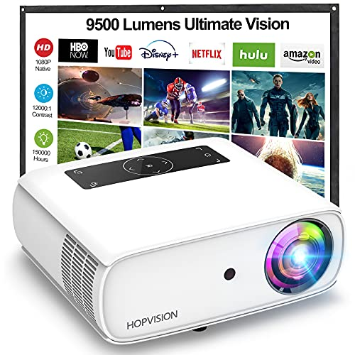 HOPVISION Native 1080P Projector Full HD, 9500Lux...