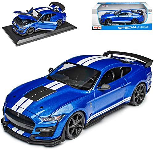 Ford Shelby Mustang GT500 VI Coupe Blau mit Streifen in Weiss Modell Ab 2014 Version Ab 2020 1/18 Maisto Modell Auto