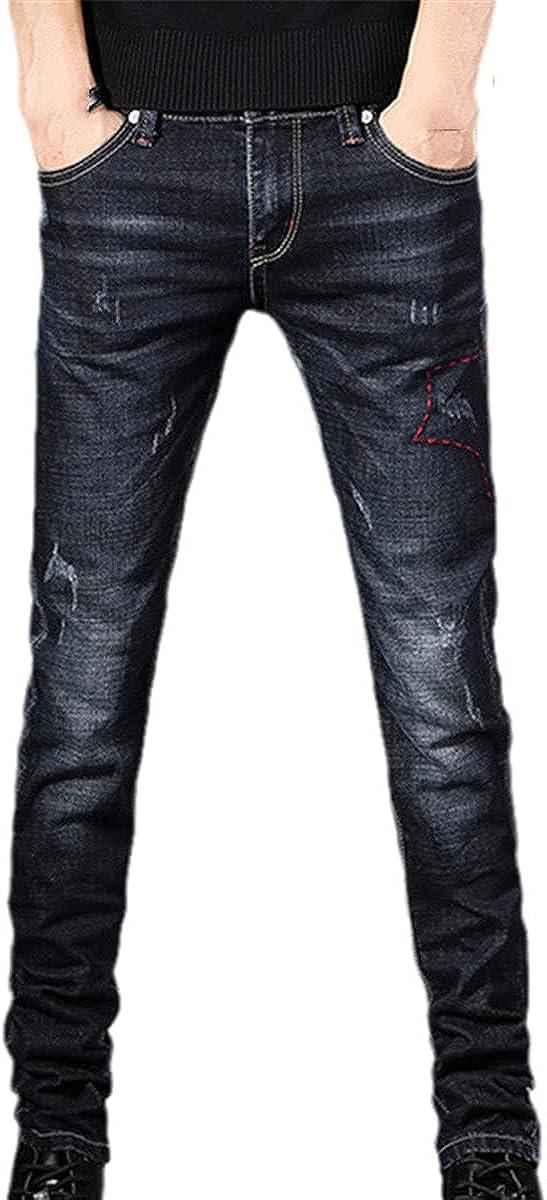 CACLSL Fashion Men's Jeans Pants Stretch Dark Blue Skinny Casual Slim Jeans Korean Denim Trousers