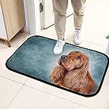 Alfombra para el piso del baño Dibujo perro Cocker Spaniel inglés Retrato Cama Estera del piso 23.6x15.7 pulgadas (60x40cm) microfibra Lavable para jardín Oficina Cocina Comedor Comedor Decoración