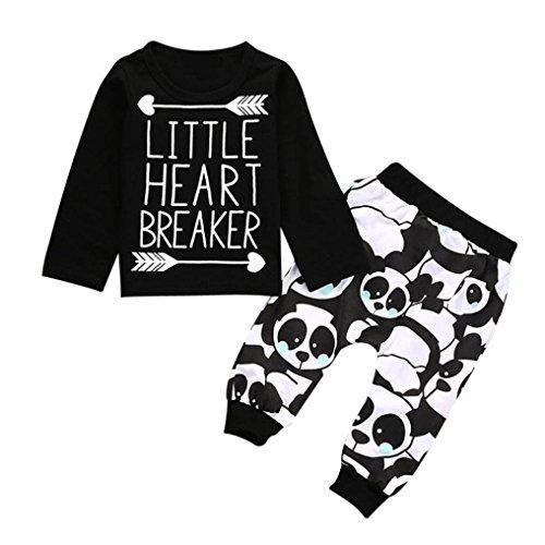 erthome Baby Jungen Langarm Brief Bluse Tops + Hosen Kinder Outfits Kleidung Set Für 0-24 Monate (Schwarz, 6-12 Monate)