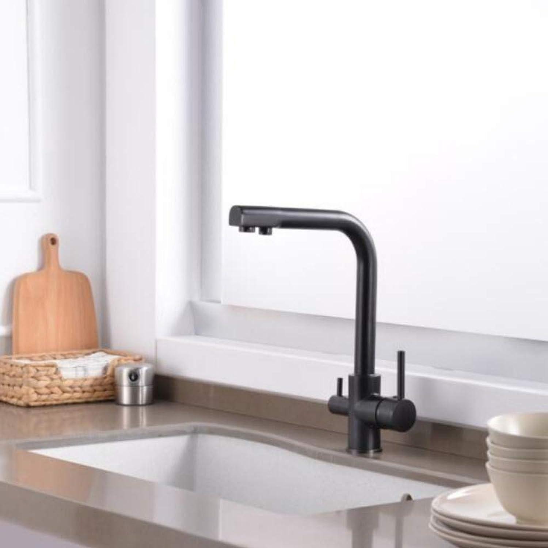 Lddpl Wasserhahn Küchenarmaturen Massivem Messing Schwarz Für Küche Deck Montiert Wasserfilter Tap Drei Mglichkeiten Spültischmischer 3 Way Küchenarmatur