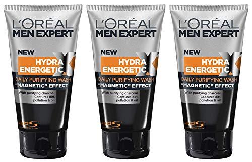 L\'Oréal Men Expert Hydra Energy X Kohle-Reinigung, bekämpft Hautunreinheiten (Mitesser, Akne und Pickel) ohne austrocknen Porenverfeinernd (3x 150ml)