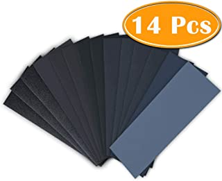 Paxcoo 14 Pcs Wet Dry Sandpaper 120 to 3000 Grit Assortment 9 3.6 Inches for Automotive Sanding