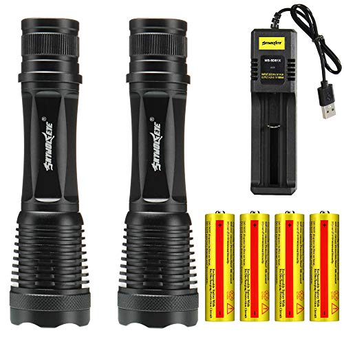 Skywolfeye 2 Packs Led 2000 Lumen 18650 Flashlight with 4Pcs 3.7V 5000mAh Rechargeable Battery and Usb Charger, Xml Handhold Flashlight, Ultra Bright Adjustable Focus and 5 Modes for Outdoor