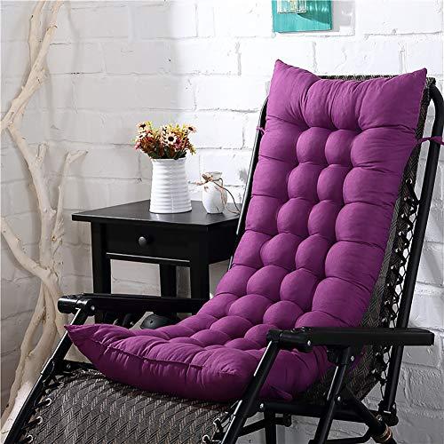 KTOL Hochlehner-Auflage Stuhlauflagen Sitzkissen, Terrasse Gartenstuhlauflage Verdicken Sie Stuhlkissen Sitzauflage Sessel Deckchair Liege Pad Mat 100% Perlenbaumwolle-lila 155x48x8cm