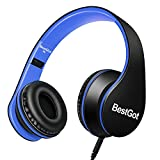 BestGot Children Kids Headphones for Kids Boys Adult with Microphone Volume Control Foldable Headset with 3.5mm Plug Removable Cord (Wired Black/Blue)